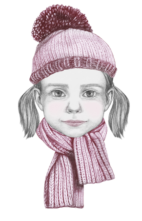Portrait of Girl with hat and scarf. Hand-drawn illustration.
