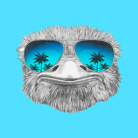Portrait of Ostrich with mirrored sunglasses. Hand-drawn illustration.