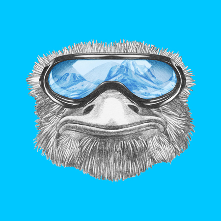 Portrait of Ostrich with goggles. Hand-drawn illustration.