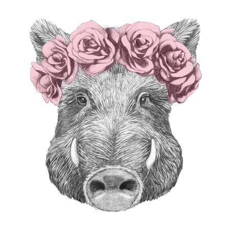 Portrait of Boar with floral head wreath. Hand-drawn illustration.