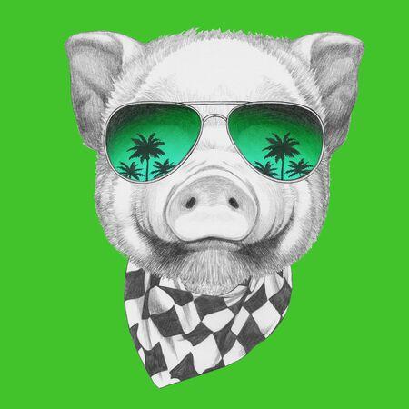 Porträt des Schweins mit Sonnenbrille und Schal, handgezeichnete Illustration