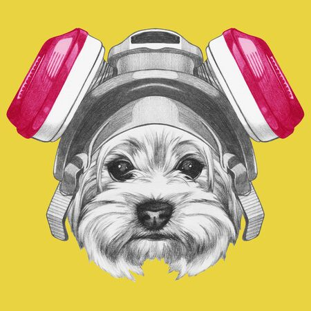 Portrait of Yorkshire Terrier with gas mask, hand-drawn illustration 版權商用圖片