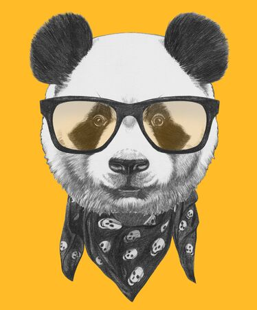 Portrait of  Panda with glasses and scarf. Hand-drawn illustration.