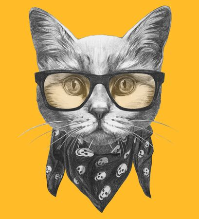 Portrait of Cat with glasses and scarf, hand-drawn illustration