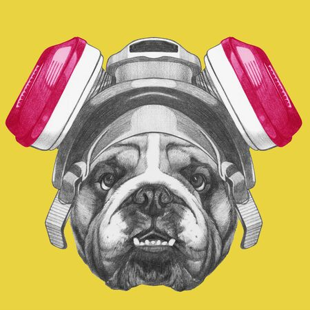 Portrait of English Bulldog with gas mask, hand-drawn illustration