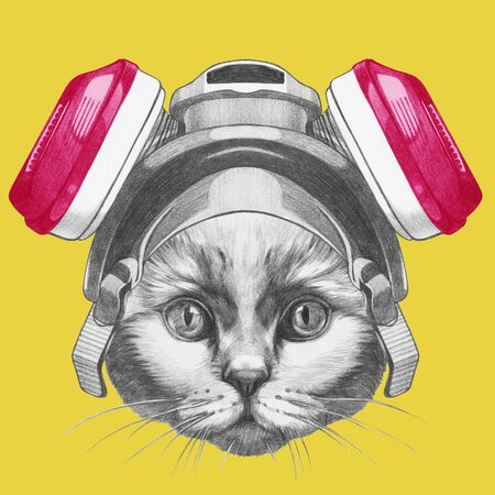 Portrait of Cat with gas mask. Hand-drawn illustration. Stockfoto