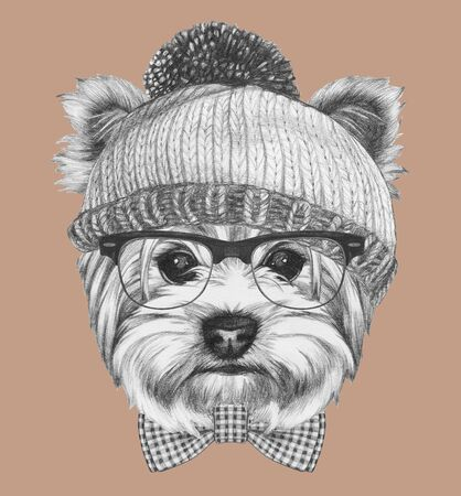 Hipster Dog. Portrait of Yorkshire Terrier with sunglasses and hat, hand-drawn illustration