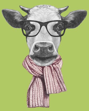 Portrait of Cow with glasses and scarf, hand-drawn illustration Reklamní fotografie