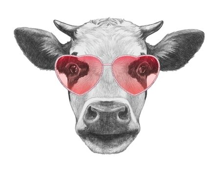 Cow in Love! Portrait of Cow with sunglasses, hand-drawn illustration