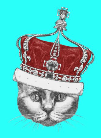 Portrait of  Cat with crown. Hand-drawn illustration.