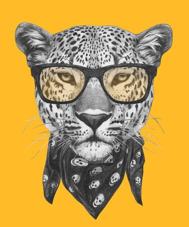 Portrait of Leopard with glasses and scarf. Hand-drawn illustration.