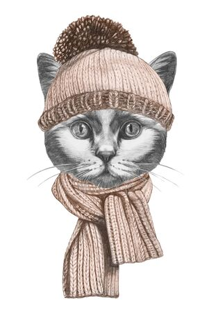 Portrait of Cat with hat and scarf. Hand-drawn illustration. Stockfoto