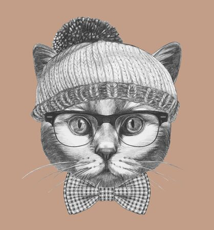 Portrait of Hipster Cat. Portrait of Cat with sunglasses and hat. Hand-drawn illustration.