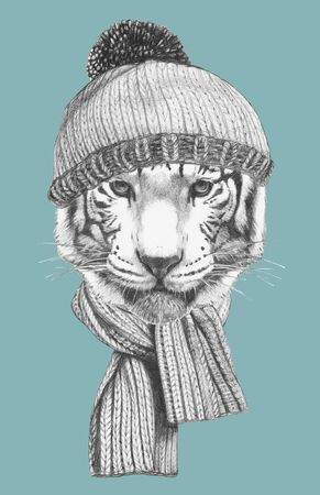 Portrait of Tiger with hat and scarf. Hand-drawn illustration.