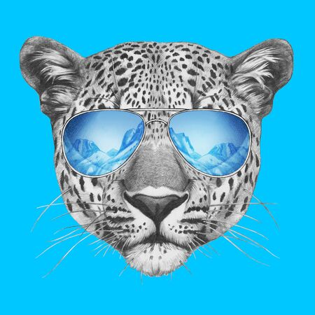 Portrait of Leopard with sunglasses. Hand-drawn illustration.
