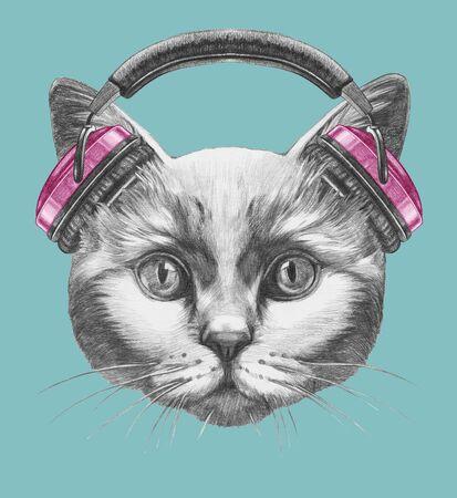 Portrait of Cat with headphones. Hand-drawn illustration. Banco de Imagens