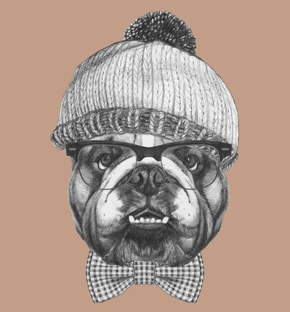 Portrait of hipster dog, portrait of English Bulldog with sunglasses, hat and bow tie and hat, hand-drawn illustration