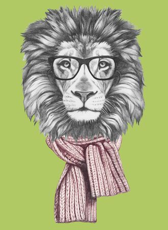 Portrait of Lion with glasses and scarf. Hand-drawn illustration. Reklamní fotografie