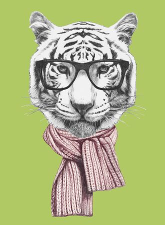 Portrait of Tiger with glasses and scarf. Hand-drawn illustration. Banco de Imagens