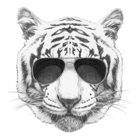 Portrait of Tiger with sunglasses, hand-drawn illustration Banco de Imagens