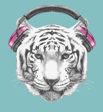Portrait of Tiger with headphones. Hand-drawn illustration.