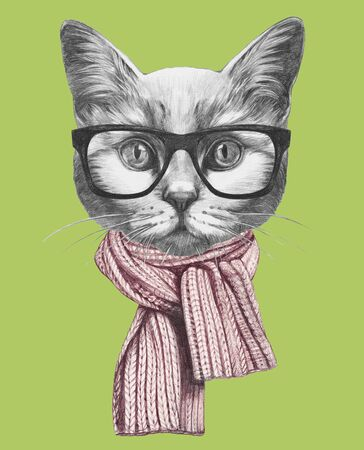 Portrait of Cat with scarf and glasses. Hand-drawn illustration. Banco de Imagens