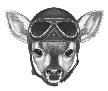 Portrait of Fawn with vintage helmet,  hand-drawn illustration