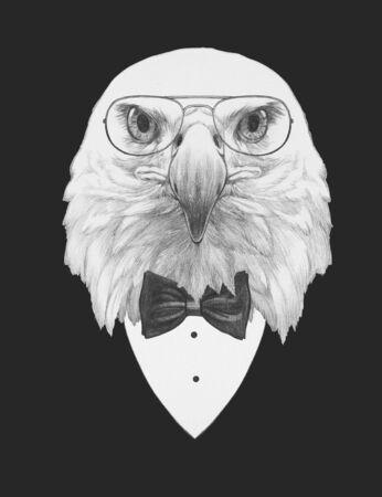 Portrait of Eagle in suit,  hand-drawn illustration Reklamní fotografie