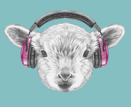 Portrait of  Lamb with headphones,  hand-drawn illustration Zdjęcie Seryjne