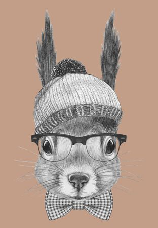 Portrait of Hipster, portrait of Squirrel with sunglasses, hat and bow tie,  hand-drawn illustration