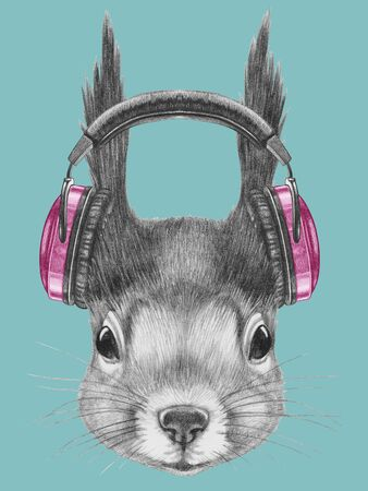 Portrait of Squirrel with headphone,  hand-drawn illustration