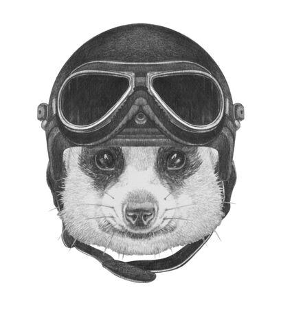 Portrait of Meerkat with vintage helmet,  hand-drawn illustration Stock Photo