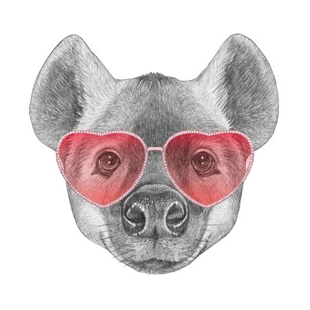 Hyena in Love! Portrait of Hyena with sunglasses, hand-drawn illustration,  hand-drawn illustration