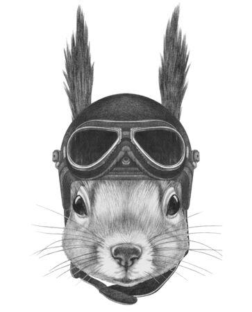 Portrait of Dalmatian with vintage helmet,  hand-drawn illustration
