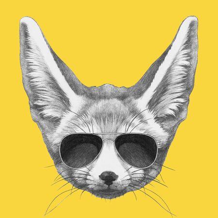 Portrait of Fennec Fox with sunglasses,  hand-drawn illustration