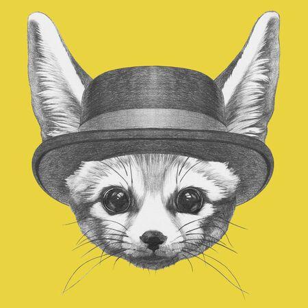 Portrait of Fennec Fox with hat,  hand-drawn illustration