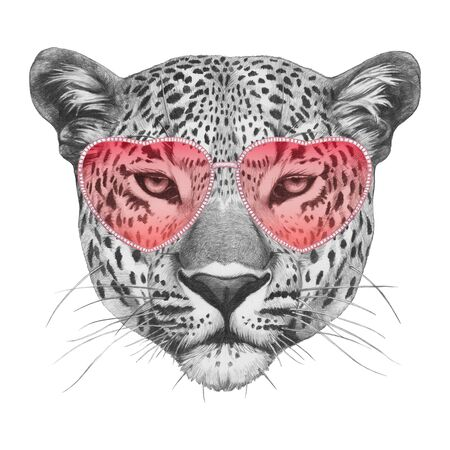 Leopard in Love! Portrait of Leopard with sunglasses. Hand drawn illustration.