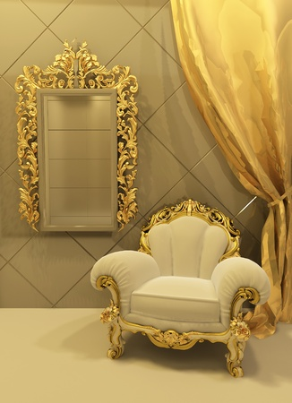 royal: baroque furniture in a luxurious interior Stock Photo