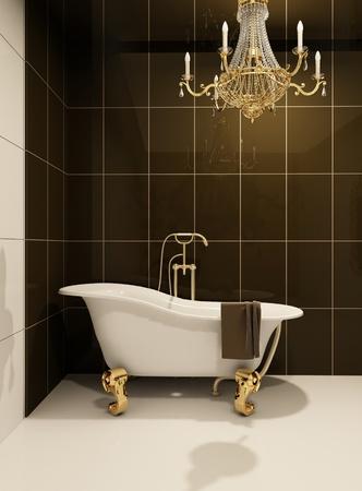 bathroom tile: Luxury bath in bathroom Stock Photo