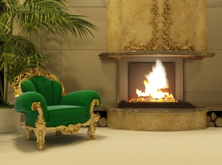 Royal armchair by fireplace in luxury interior photo