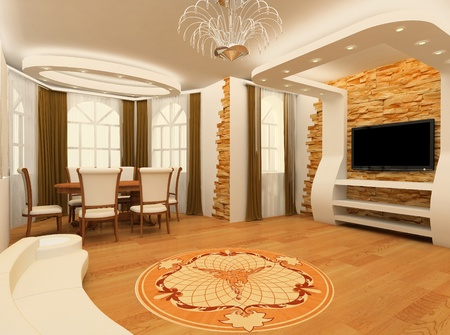 적층: Decorative ornament with laminated flooring board and brick masonry in modern interior