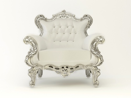 antique chair: Luxury modern armchair with silver frame on the white background