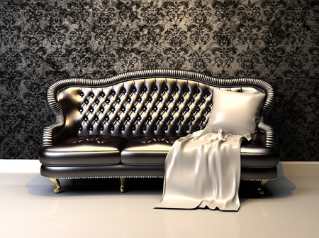 Leather sofa in interior with decoration wallpaper photo