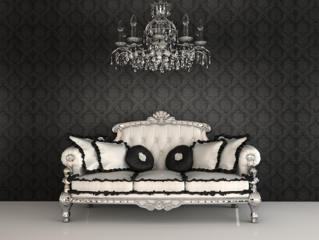 Royal sofa with pillows and chandelier in luxurious interior with ornament wallpapers Stock Photo - 9782331