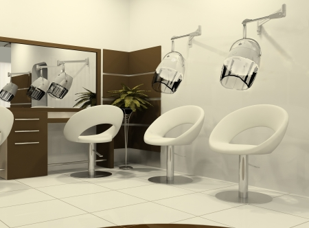 salon: Luxurious interior of a hairdressing salon. Air-drying of hairs. Salon of Beauty. Comfortable armchairs. Round Seat. Wooden panels