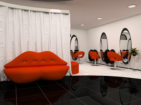 Red lips sofa in the interior beauty salon photo