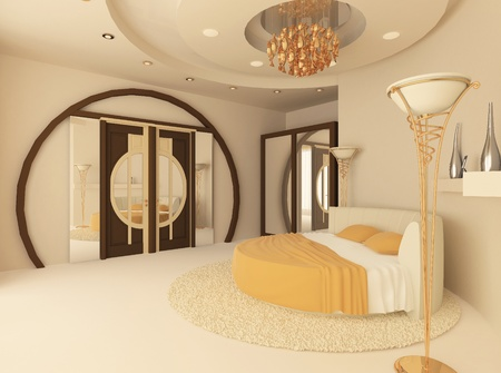 round bed in a luxurious bedroom with a suspended ceiling