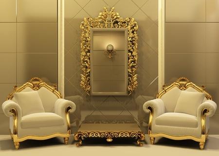 luxe: Fauteuils de luxe avec cadre int�rieur de style ancien Banque d'images