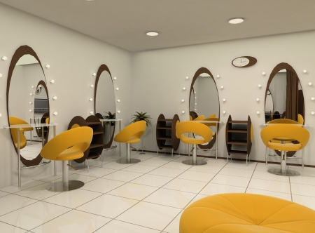 salon hair: Outlook of luxury beauty salon. Workplaces.  Salon of hairdressing. Oval mirrors with upholstery and relax armchairs. Comfy seat. Modern Interior. Indoor Stock Photo