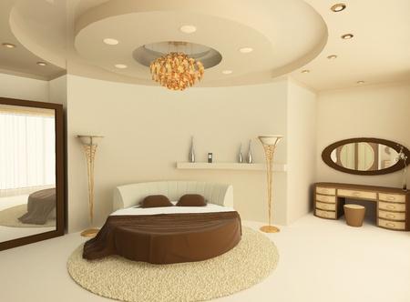3D ronda de cama con un falso techo en un dormitorio de lujo